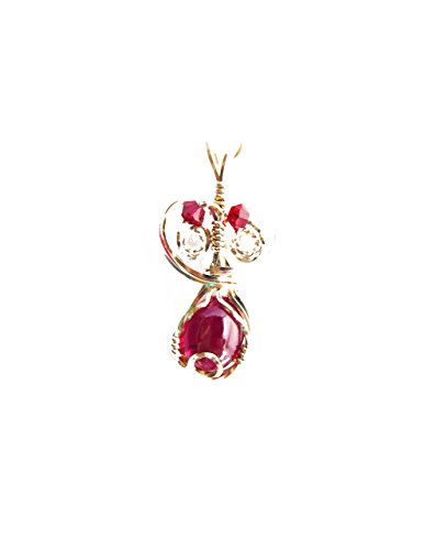 Ruby Lane Jewelry - Red Ruby Pendant 14 K gold fill wire wrapped