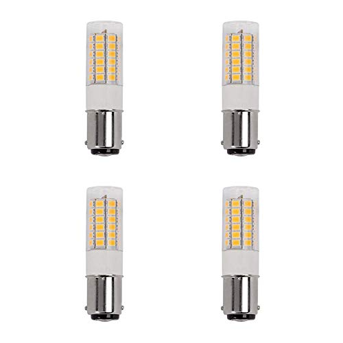 Makergroup 1076 1004 1142 BA15D S8 DC Bayonet Double Contact Base LED Light Bulbs for Boat Marine Lights, RV Camper Trailer Automotive Light Bulbs, Works on 12V&24V, Warm White 4-Pack