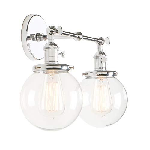 Permo Double Sconce Vintage Industrial Antique 2-Lights Wall Sconces with Dual Mini 5.9'' Round Clear Glass Globe Shade (Chrome) by Permo