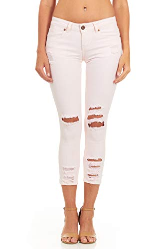 (Cover Girl Women's Ripped Cropped Skinny Jeans, Pink Denim 1\2)