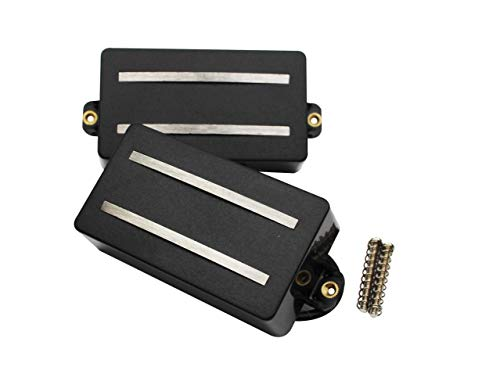 Guyker Guitar Humbucker Pickups Set - Alnico Rails Coil Neck and Bridge Double Pickup Replacement Parts for 6 String Electric Guitar or Precision Instruments (GDR Black) ()
