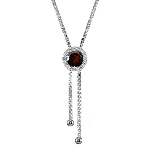 (Sterling Silver Garnet and White Topaz Round Halo Drop Adjustable Lariat Necklace)