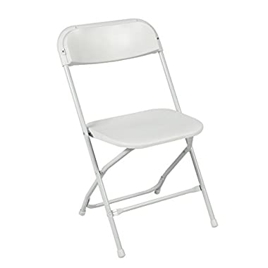 Best Choice Products® (5) Commercial White Plastic Folding Chairs Stackable Wedding Party Event Chair