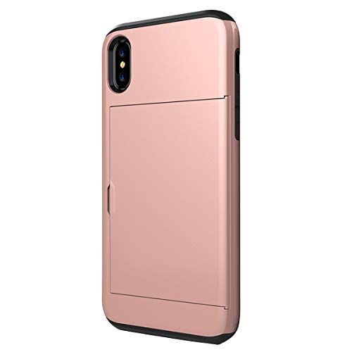 Slim Wallet Back Case for iPhone Xs max Impact Resistant Hybrid Protective Shell Shockproof Rugged Rubber Bumper Anti-Scratch Hard Cover Skin Card Holder with Sliding Back Door 6.5 inches