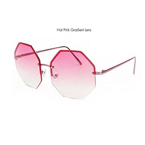 Randlose Lente Klassische Form Stilvolle Gris KXLEB Platz Sonnenbrille Lente Designer degradado rojo Oversize Gläser Frauen qdzYw5Y7