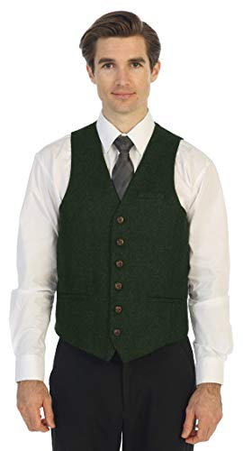 Gioberti Men's 6 Button Slim Fit Formal Herringbone Tweed Vest, Barleycorn Olive, 3X Large