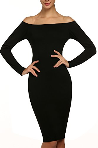 ANGVNS Womens Shoulder Stretch Bodycon