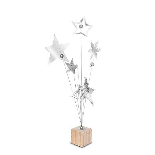 23 Bees | Table Centerpieces for Party | Photo Holder (Rustic Silver Handcrafted Star Design, 12 Pack) | Centerpiece Holders for Tables with Individual Card Number Slots | Dining Room & Kitchen Decor