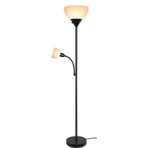 Reading Light Torchiere - SUNLLIPE Floor Lamp 70.5 inches Energy Saving Sturdy Tall Standing Light Modern Pole Reading Lamp LED Torchiere Floor Lamp for Living Room, Dorm and Bedroom (Black)