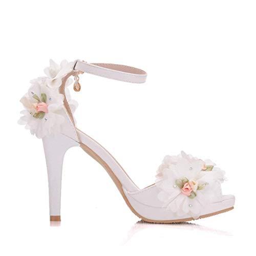 Caviglia Caviglia 5 Colore Bianco 7 in Raso Raso da Sandali Sposa Tacco Caviglia Donna da con e Cinturino alla con Cinturino alla Alto Dimensione ZHRUI xv4OwR1q4