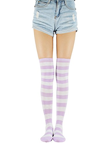 - Women Over The Knee Tube Socks Casual Striped Long Thigh High Tights Stockings Stretchy One Pair Skirt Sock Purple White Wide Stripe