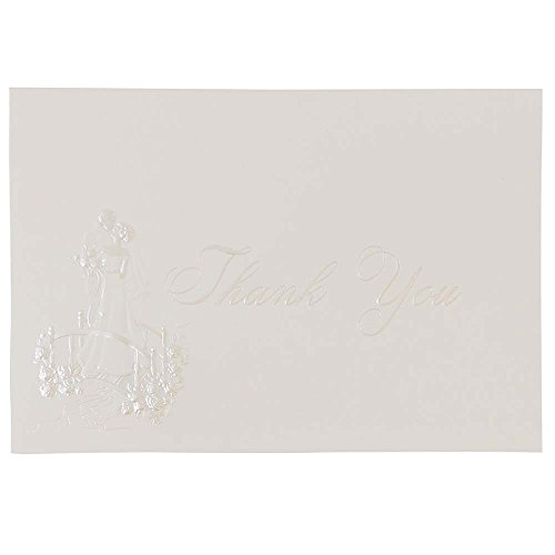 JAM Paper Thank You Card Sets - Bright White Cards with Wedding Theme - 104 Cards & 100 Envelopes