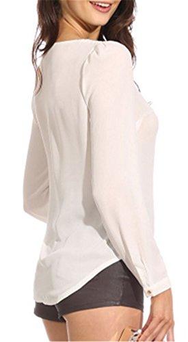 Collo V Moda Manica T Sexy Shirt Elegante Casual Lunga Maglia White Maglietta Donna qRzwncHUR