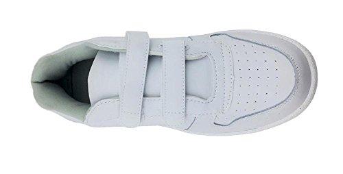 Manar Eller Kvinna Vitt Läder Gymnastiksko Sko, Dubbel Velcro (13 Mens 15 Kvinnor)
