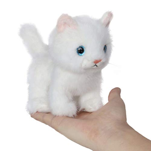 Ice King Bear Fluffy Little Cat Stuffed Animal Small Plush Toy 6 Inches (White) ()
