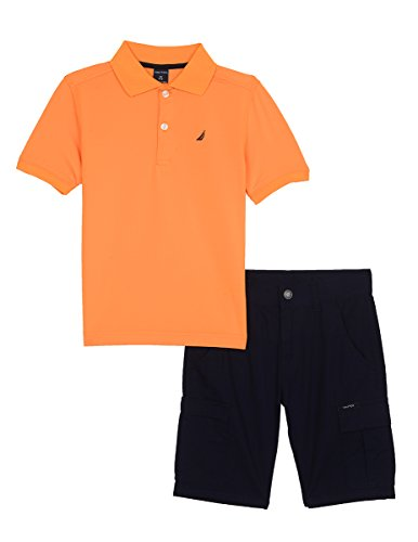 Nautica Boys' Two Piece Set with Synthetic Polo Shirt and Short