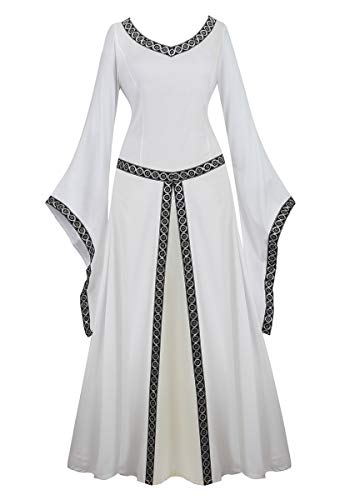 frawirshau Renaissance Costume Women Medieval Dress Queen Gown Retro Long Sleeve Dresses Role Play Dress Up Clothes White L]()