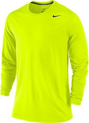 Nike Mens Legend Poly Long Sleeve Dri-Fit Training Shirt Volt/Carbon  Heather 377780