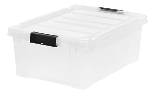 IRIS 11.75 Gallon Store-it-All Heavy Duty Stackable Utility Tote, Clear with Black Buckle by IRIS USA, Inc.