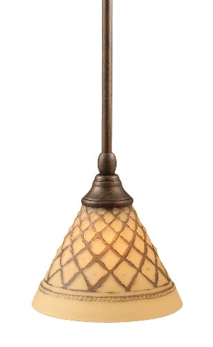 Toltec Chocolate Icing Glass - Toltec Lighting 23-BRZ-7185 Stem Mini-Pendant Light Bronze Finish with Chocolate Icing Glass, 7-Inch