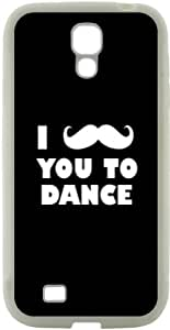 Rikki KnightTM I Mustache You To Dance Black Color Design Samsung? Galaxy S4 Case Cover (White Hard Rubber TPU with Bumper Protection) for Samsung Galaxy S4 i9500