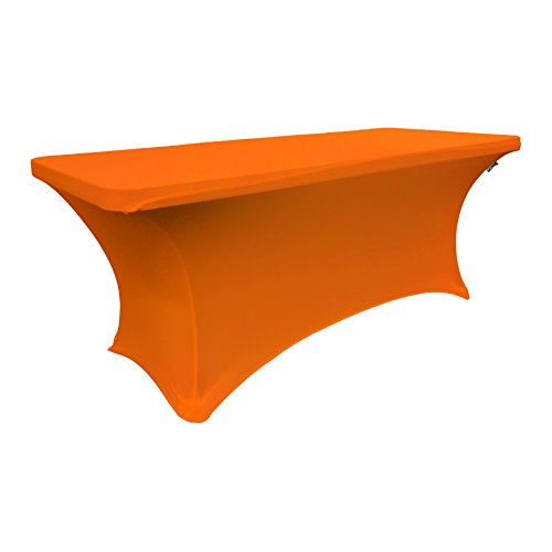 LA Linen Spandex Table Cloth for a 6-Feet Rectangular Table, 72 by 30 by 30-Inch, Orange by LA Linen