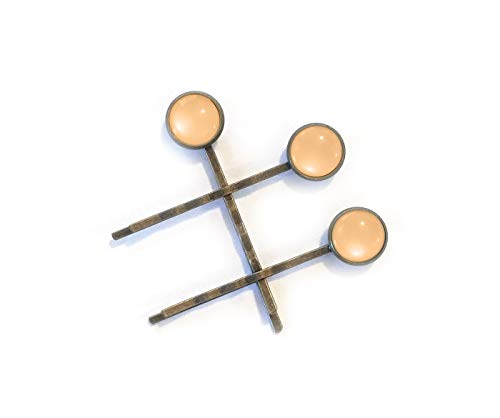 - Shiny Peach Moonstone Style Hair Clips for Women - Set of three high quality bronze bobby pins - Modern minimal style