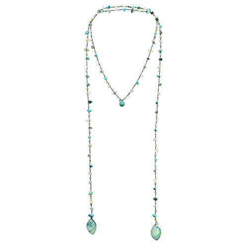 (AeraVida Long Lariat Wrap Multi-Wear Mix Simulated Turquoise & Green Stones Beaded Necklace)