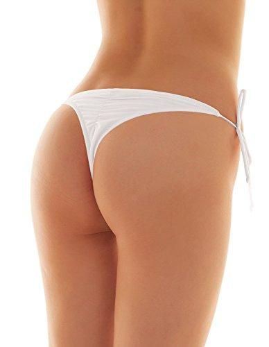 SHEKINI Mujeres Brasileño Baja Rise Tie-Side Ruched Back Tanga Bikini Bottom Solid Color Swim Brief Blanco