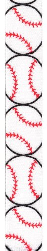Offray Grosgrain Baseball Craft Ribbon, 7/8-Inch Wide by 25-Yard Spool, Red/White Ribbon Baseball