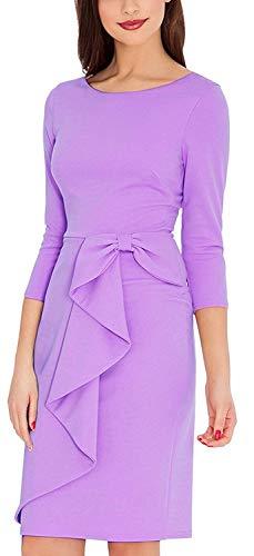CAISHA Women's Dresses Bow Waist 3 Quaters Long Sleeve Bridesmaid Midi Gown Lavender XL