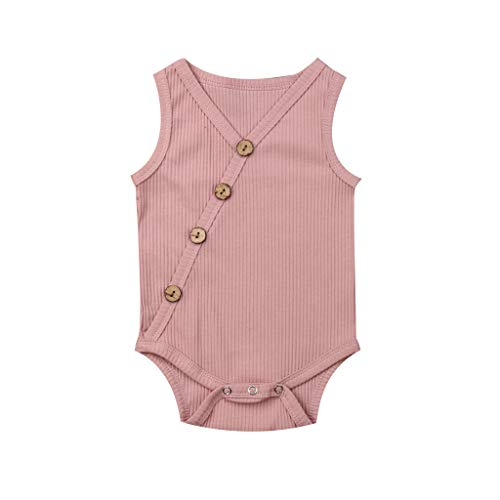 (LiLiMeng Toddler Baby Kids Girls Boys Sleeveless Solid Romper Sunsuit Bodysuit Cotton Clothes Oblique Button Stripe Pink)