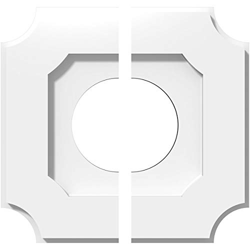 Ekena Millwork CMP10LE2-04000 10 in. OD x 4 in. ID Square Locke Architectural Grade PVC Contemporary Ceiling Medallion - 2 Piece