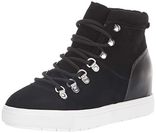 STEVEN by Steve Madden Women's Kalea Sneaker, Black Suede, 7.5 M US (Steve Madden Leather High Tops)
