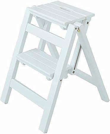 GBX Taburete plegable fácil y multifuncional cómodo Escaleras Taburetes 2 peldaños, escalera de 2 niveles Taburete Cambiador de flores Banco de zapatos, madera de pino, 44X39.5X47Cm,Blanco: Amazon.es: Bricolaje y herramientas