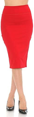 Auliné Collection Womens Solid Fitted High Waist Stretch Midi Ponte Pencil Skirt