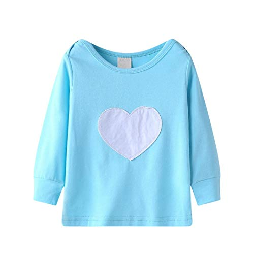 BingYELH Heart Print Unisex Baby and Toddler Soft Cotton Tee with Lap Shoulder - Boys and Girls T Shirt (100, Blue)