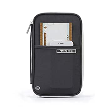 RFID Family Travel Passport Holder,Waterproof Passport Wallet With Hand Strap,RFID Blocking Document Organizer Bag - Black - Large