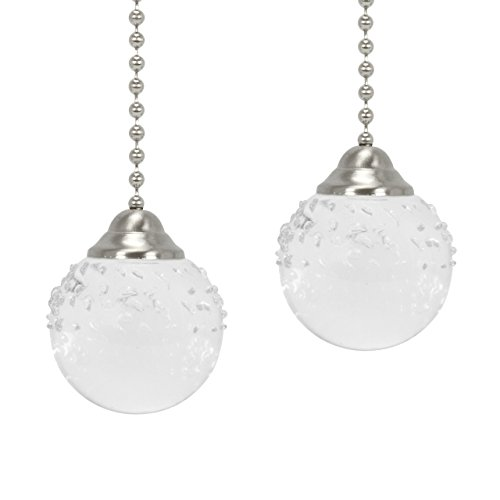 Upgradelights Pair of Brushed Nickel Ceiling Fan Light Pulls Textured Glass Fan Pull ()
