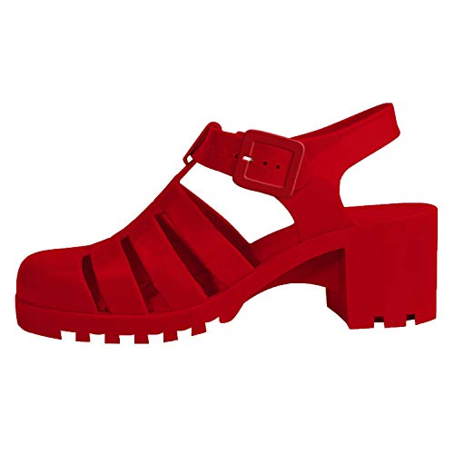 Top Prime Ankle Buckle Slide Strappy Jelly Heeled Sandal Shoe for Sale Women Teen Girls (Red Size 10)