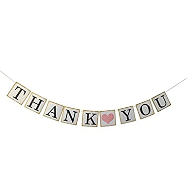 THANK YOU Wedding Bunting Banner Photo Booth Props Garland Anniversary Bridal Party Decoration (Gold )