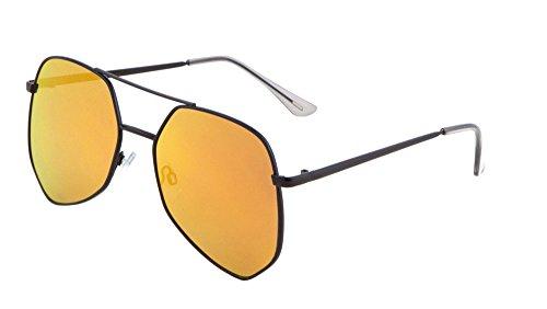 Geometric Large Aviator Sunglasses Metal Frame Mod Fashion Eyewear (Black/Sunset, - Rb4125 Black