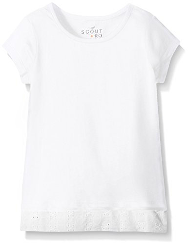 Girls Short Sleeve Knit Top (Scout + Ro Girls' Short Sleeve Knit Top With Eyelet Trim, White,)