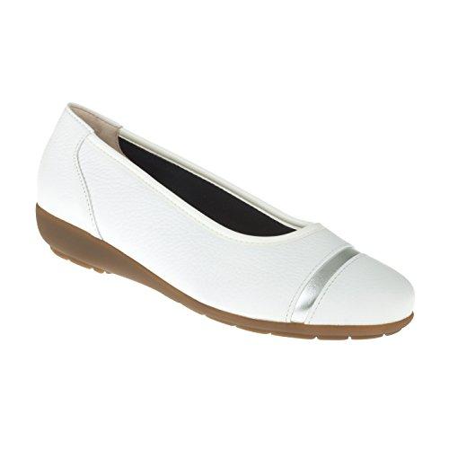 tessamino Damen Ballerina aus Hirschleder | elegant | Weite H | für Einlagen Weiß