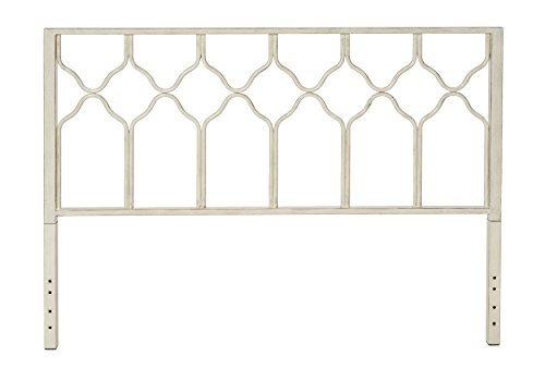 In Style Furnishings VC-HC-HB-WH-60 in Classic Geometric Metal Honeycomb Headboard in Brushed White for Queen Size Beds, Antique