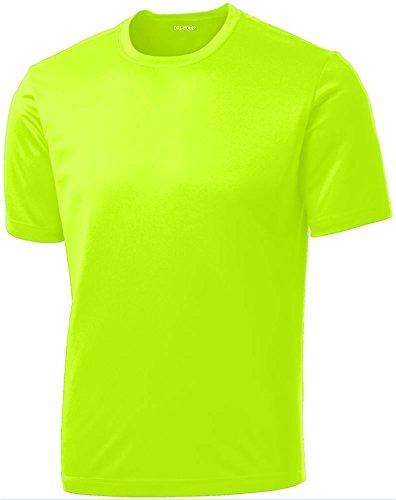 DRIEQUIP Men's Short Sleeve Moisture Wicking Athletic T-Shirt-Neonyellow-M