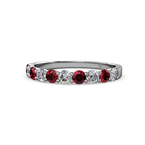 Ruby and Diamond (SI2 I1, G H) 10 Stone Wedding Band 1.05 ct tw in 14K Gold
