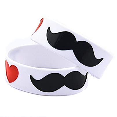 CWLLWC Silicone Bracelet Silicone Bracelets with Sayings Love Mustache Rubber Wristbands for Women and Kids Set Pieces Estimated Price £27.99 -