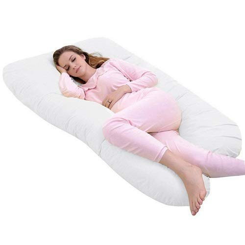 Pregnancy Pillow U Shaped Full Body Maternity Pillow with Washable Cotton Cover for Pregnant Women and Baby (Velvet, Grey) Water-chestnut