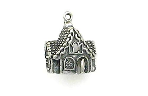 Pendant Jewelry Making/Chain Pendant/Bracelet Pendant Sterling Silver Gingerbread House Charm ()